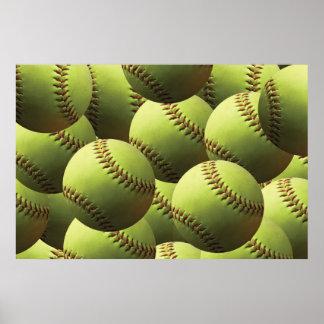 Yellow Softball Wallpaper Poster