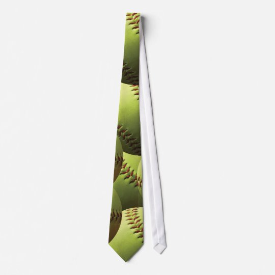 *Yellow Softball Wallpapered Effect Tie