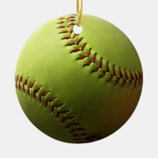 Yellow Softball Whole Ball Ceramic Ornament