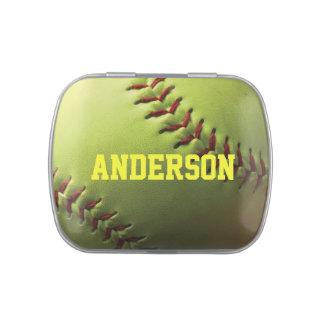 Yellow Softball with Name Candy Tin