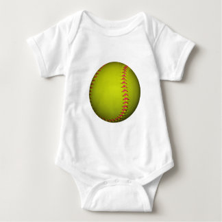 Yellow Softball With Pink Stitches Baby Bodysuit