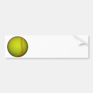 Yellow Softball With Pink Stitches Bumper Sticker