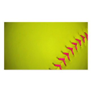 Yellow Softball With Pink Stitches Double-Sided Standard Business Cards (Pack Of 100)