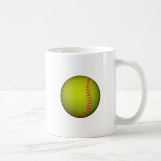 Yellow Softball With Pink Stitches Coffee Mug