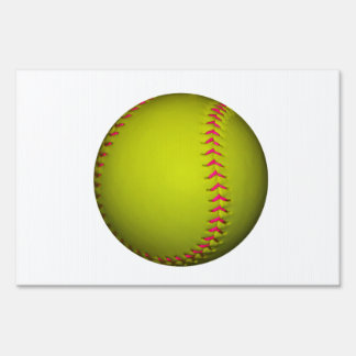 Yellow Softball With Pink Stitches Lawn Sign