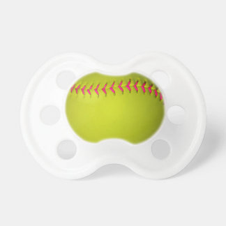 Yellow Softball With Pink Stitches Pacifier