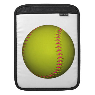 Yellow Softball With Pink Stitches Sleeves For iPads