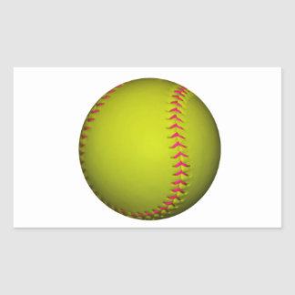 Yellow Softball With Pink Stitches Rectangle Stickers