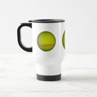 Yellow Softball With Pink Stitches Travel Mug