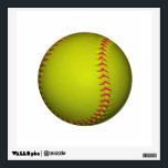 """Yellow Softball With Pink Stitches Wall Sticker<br><div class=""""desc"""">A bright yellow softball with pink stitching.</div>"""
