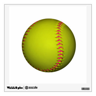 Yellow Softball With Pink Stitches Wall Sticker