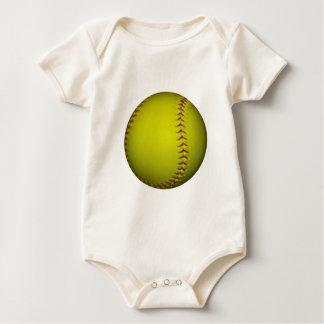 Yellow Softball With Purple Stitches Baby Bodysuit