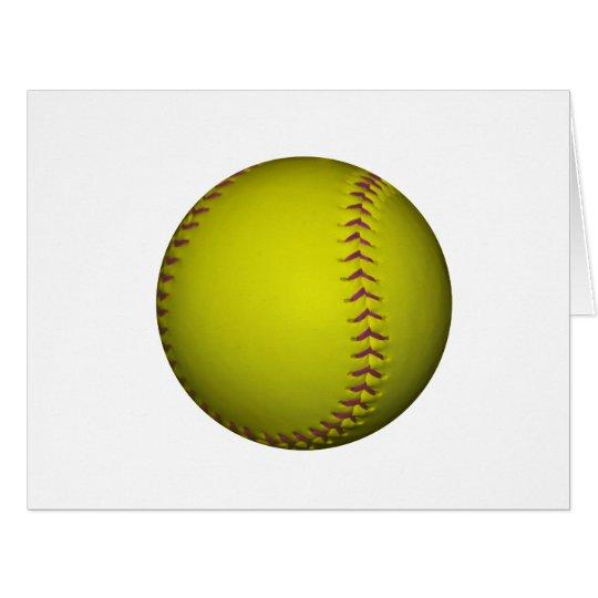 Yellow Softball With Purple Stitches Card