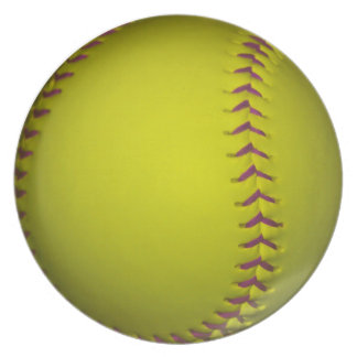 Yellow Softball With Purple Stitches Dinner Plate