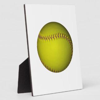 Yellow Softball With Purple Stitches Plaque