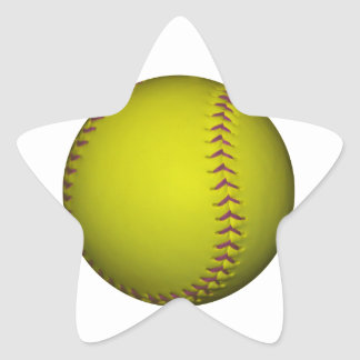 Yellow Softball With Purple Stitches Star Stickers