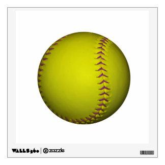 Yellow Softball With Purple Stitches Wall Decor
