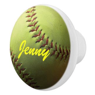 Yellow Softball with Red Stitching Ceramic Knob