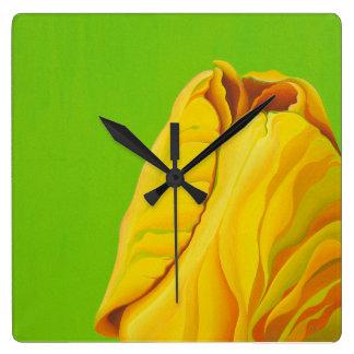 Yellow Some-Buddy Square Clock