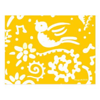 yellow songbird postcard