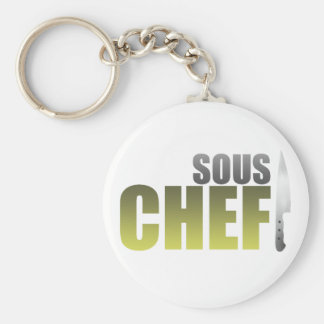Yellow Sous Chef Basic Round Button Keychain