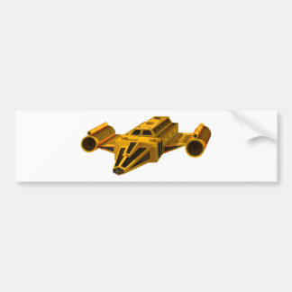 Yellow spaceship with wings bumper sticker