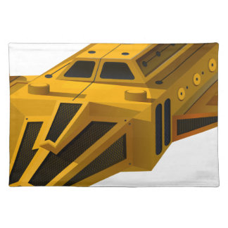 Yellow spaceship with wings cloth placemat