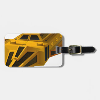 Yellow spaceship with wings luggage tag