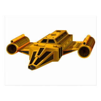 Yellow spaceship with wings postcard