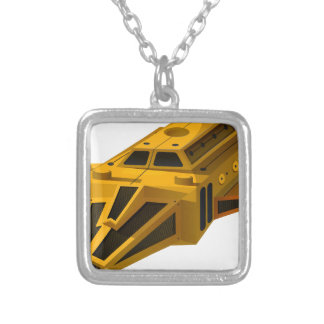 Yellow spaceship with wings silver plated necklace