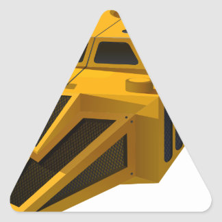 Yellow spaceship with wings triangle sticker