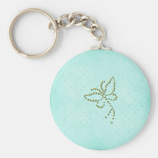 Yellow Sparkle Butterfly Blue Background Keychain