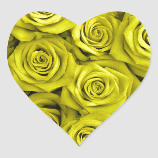 Yellow Spectacular Roses Heart Sticker