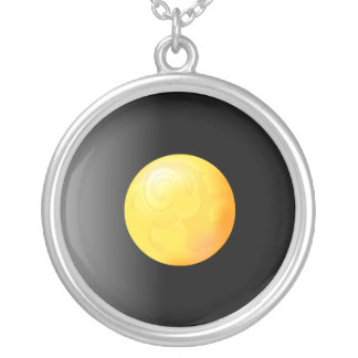 Yellow sphere on black gradient background. silver plated necklace