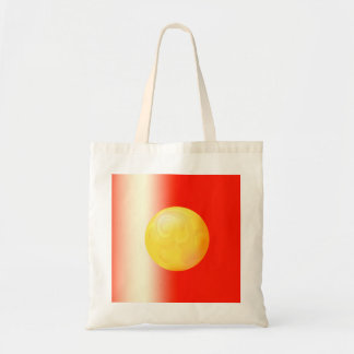 Yellow sphere on red gradient background tote bag