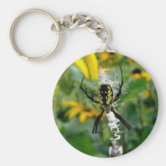 Yellow Spider Basic Round Button Keychain