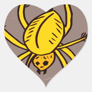 Yellow Spider Heart Sticker