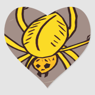 Yellow Spider Heart Sticker