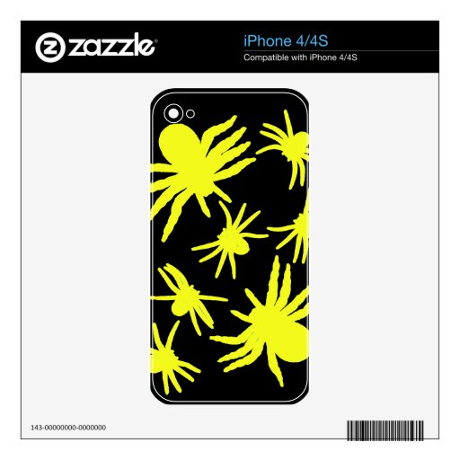 Yellow Spiders With Black Background Decals For iPhone 4S