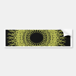 Yellow spikey spirograph bumper sticker