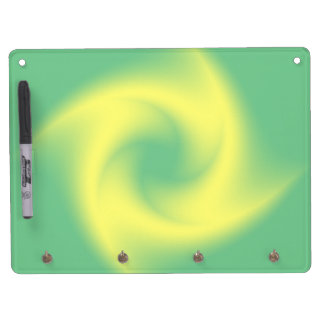 Yellow Spiral on Green Dry Erase Board With Keychain Holder