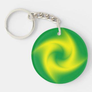 Yellow Spiral on Green Keychain