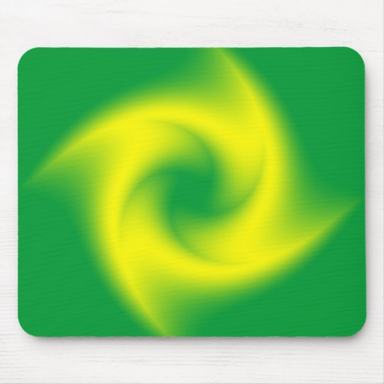 Yellow Spiral on Green Mouse Pad