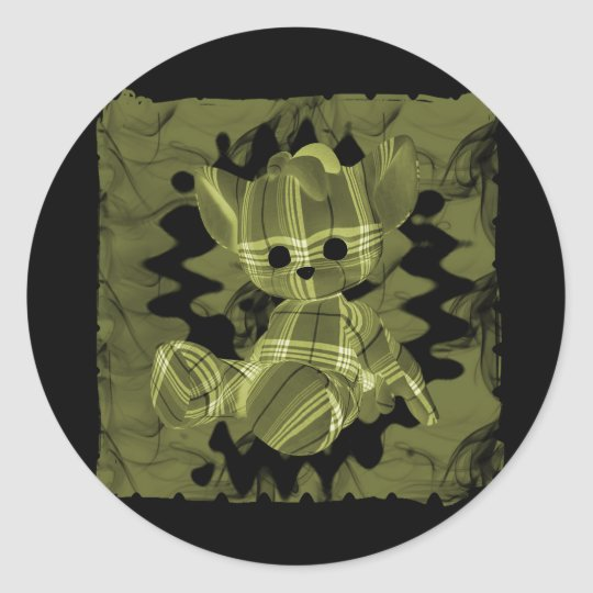 Yellow Spiral Smoke Teddy Bear Classic Round Sticker