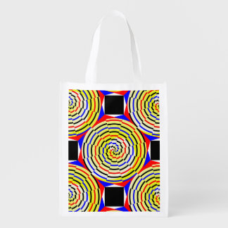 Yellow Spirals Reusable Grocery Bag