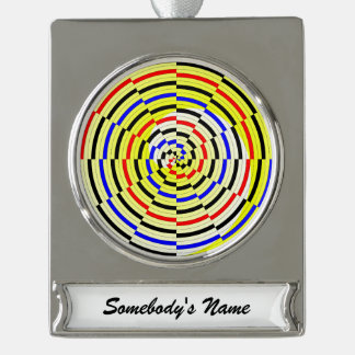 Yellow Spirals Silver Plated Banner Ornament