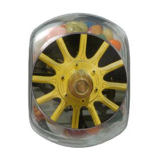 Yellow Spokes Glass Candy Jars