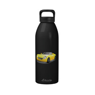 Yellow sports car cartoon drinking bottle