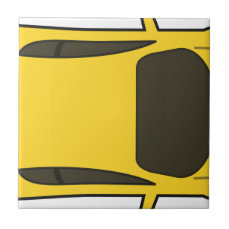 Yellow Sports Car Ceramic Tile