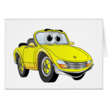 Yellow Sports Car Covertible Cartoon Greeting Card
